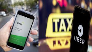Taxify and Uber logo