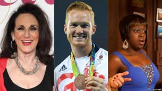 Lesley Joseph, Greg Rutherford and Tameka Empson