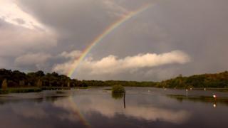 Rainbow over a canal