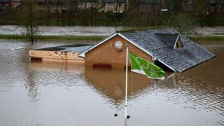 The Bowling Club in Taffs Wells was surrounded by water