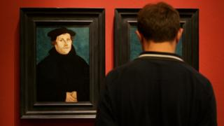 A portrait of Martin Luther hangs at the German Historical Museum in Berlin