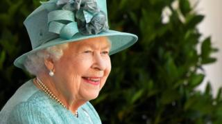 Queen Elizabeth II at the ceremony at Windsor Castle