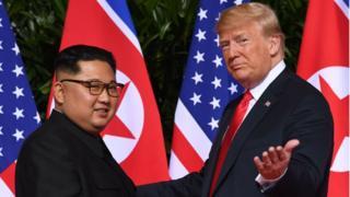 Kim Jong un and Donald Trump in Singapore