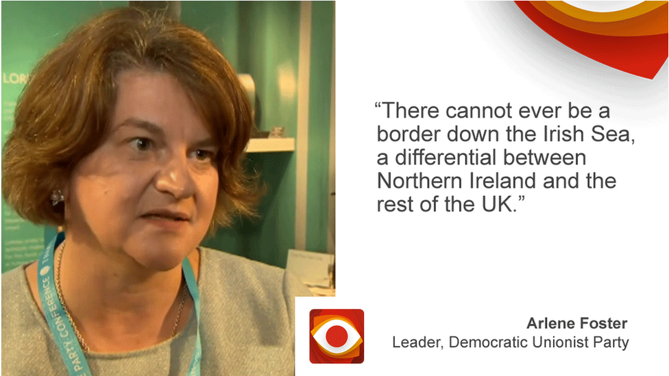 Arlene Foster saying: There cannot ever be a border down the Irish Sea, a differential between Northern Ireland and the rest of the UK