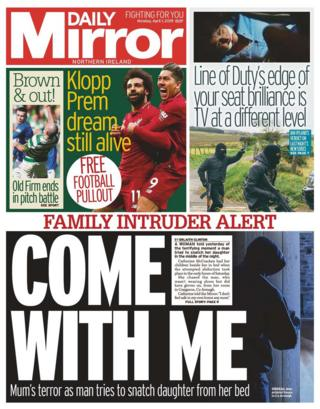 Front page of the Daily Mirror on Monday