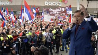 Milorad Dodik addressing rally in Republika Srpska, May 2016
