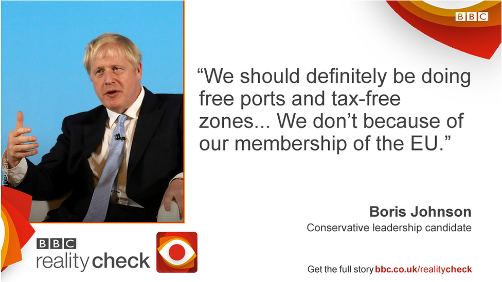 Boris Johnson saying: We should definitely be doing free ports and tax-free zones... We don't because of our membership of the EU.