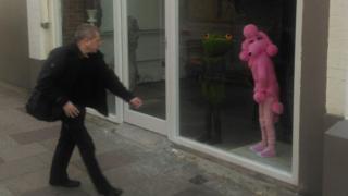 Sculpture in shop window