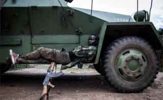 A soldiers from the Armed Forces of the Democratic republic of the Congo (FARDC) is seen at their military base on October 07, 2018 outside Oicha.