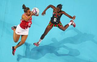 Laura Malcolm of England competes for the ball during the Play-off for 3rd/4th place Fast5 Netball Series match between England and Malawi at Hisense Arena on October 30, 2016 in Melbourne