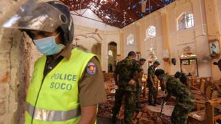 Sri Lankan military inspect St Sebastian church where a bomb blast took place in the town of Negombo, Sri Lanka, on April 22 2019