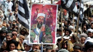 Protesters in Pakistan following the death of Osama bin Laden