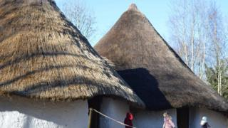 The ancient buildings have been recreated by members of the public