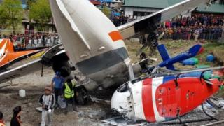 Scene of plane crash at Lukla Airport