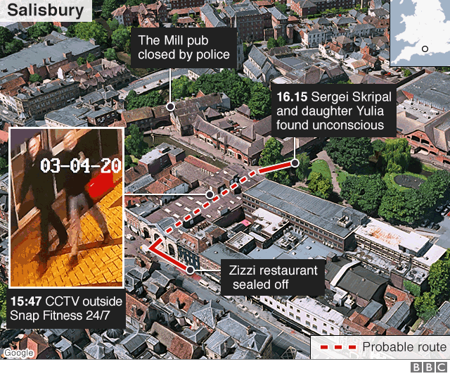 Graphic showing key locations and times in Russian spy case