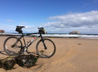 bike on Auldhame Beach near North Berwick.