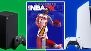 NBA 2K21 next to an Xbox Series X and PS5