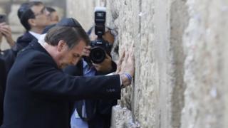 Bolsonaro no Muro das Lamentações, nesta segunda-feira