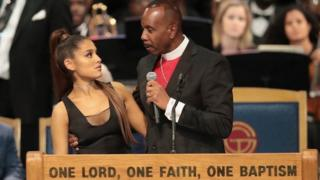 Ariana Grande at Aretha Franklin's funeral