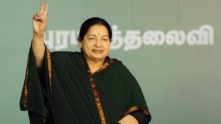 Jayaram Jayalalitha, leader of the Anna Dravida Munnetra Kazhagam (AIADMK) state political party, gestures during a campaign rally in Chennai on 9 April, 2016