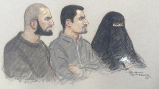 Court sketch of Mohammed Ali Ahmed, Zakaria Boufassil and Soumaya Boufassil