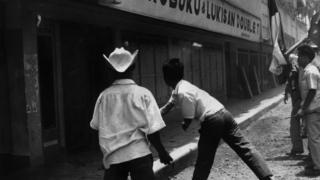 Bookshop in Jakarta being attacked