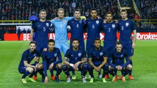 L'équipe nationale d'Angleterre en rencontre amicale internationale contre l'Allemagne à Dortmund le 22 mars dernier