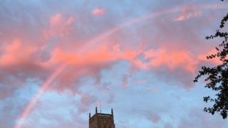 Pink rainbow over Mark in Somerset