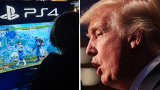 On the left of the image a woman is playing a fighting video game. On the right of the image, Donald Trump looks cross.