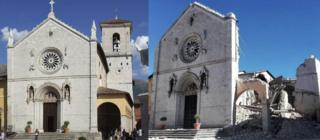 A before and after picture shows damage to the 14th century Cathedral of St Benedict