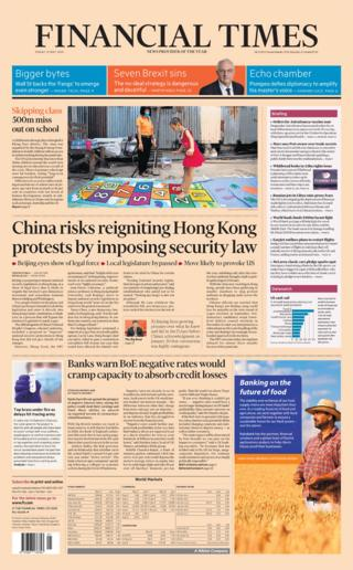 The Financial Times front page 22/05/20