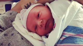 Screengrab of baby Jameson, who was born on-air to radio presenter Cassiday Proctor