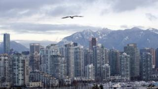 Home prices in Vancouver (above) and Toronto are well above the national average