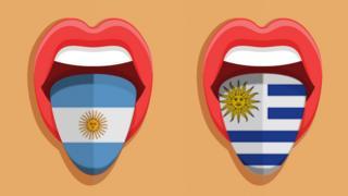 Ilustraciones de una boca con la bandera argentina y otra con la uruguaya.