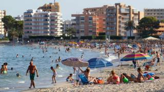 People sunbathing in Mallorca