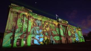 Front of Buckingham Palace lit up for the project