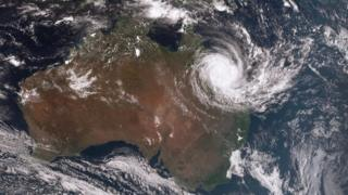 Aerial photo of Australia with cyclone Debbie