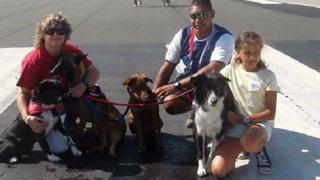Familia con perros en la pista de aterrizaje.