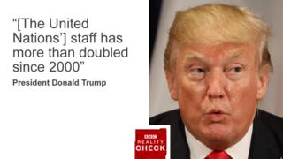 """Quote card with image of Donald Trump reads: """"The United Nations' staff has more than doubled since 2000"""""""