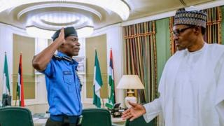Acting Inspector General of Police, Ag. IGP Mohammed Abubakar Adamu dey salute President Muhammadu Buhari