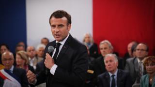 President Macron at a debate in Corsica, 4 Apr 19