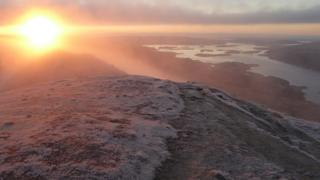 The loch from the summit of Ben Lomond at sunrise