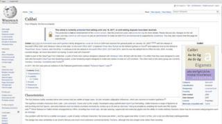 وکی پیڈیا پر 'کیلیبری' کا صفحہ