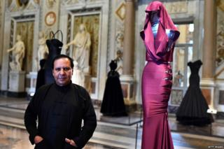 French-Tunisian couturier Azzedine Alaia at the press preview of one of his exhibitions at the Galleria Borghese in Rome