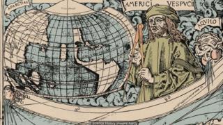 Ilustração de Américo Vespúcio e o Globo Terrestre