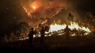 Pessoas olham fogo queimando