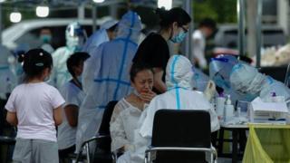 Medics taking swabs