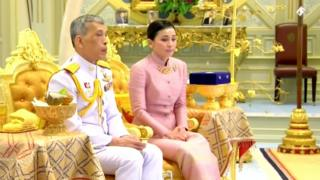 King Maha Vajiralongkorn and his consort, General Suthida Vajiralongkorn named Queen Suthida attend their wedding ceremony in Bangkok, Thailand May 1, 2019, in this screen grab taken from a video.