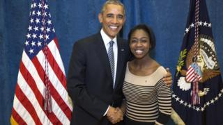 Camille Eddy and Barack Obama
