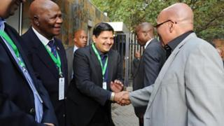 Gauteng Cricket Board President Ray Mali, Atul Gupta and President Jacob Zuma